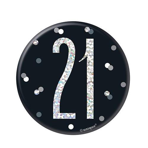 Black Glitz Age 21 Holographic Birthday Badge 7cm Product Image