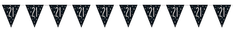 Black Glitz Age 21 Holographic Foil Pennant Bunting 274cm