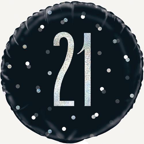 Black Glitz Age 21 Holographic Round Foil Helium Balloon 46cm / 18 in