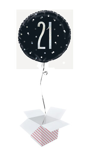 Black Glitz Age 21 Holographic Round Foil Helium Balloon - Inflated Balloon in a Box