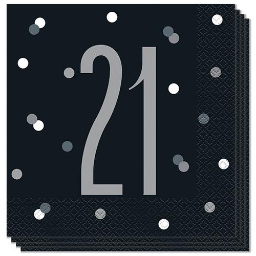 Black Glitz Age 21 Luncheon Napkins 33cm 2Ply - Pack of 16