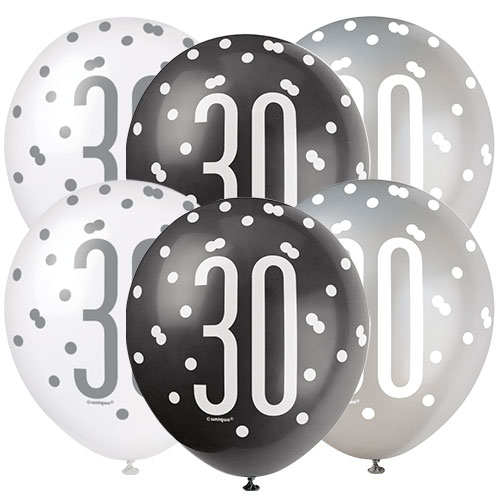 Black Glitz Age 30 Assorted Biodegradable Latex Balloons 30cm / 12 in - Pack of 6 Bundle Product Image