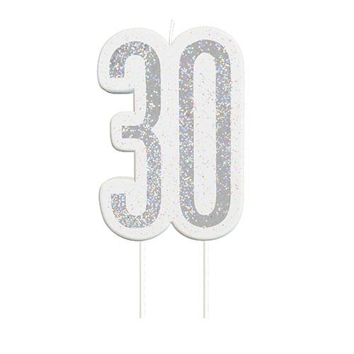Black Glitz Silver Age 30 Birthday Candle 9cm