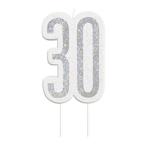 Black Glitz Silver Age 30 Birthday Candle 9cm Bundle Product Image