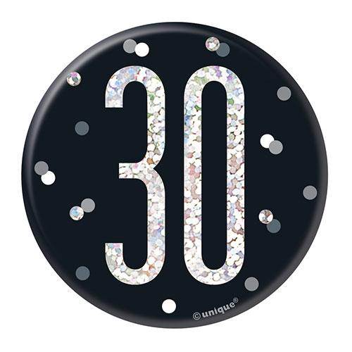 Black Glitz Age 30 Holographic Birthday Badge 7cm