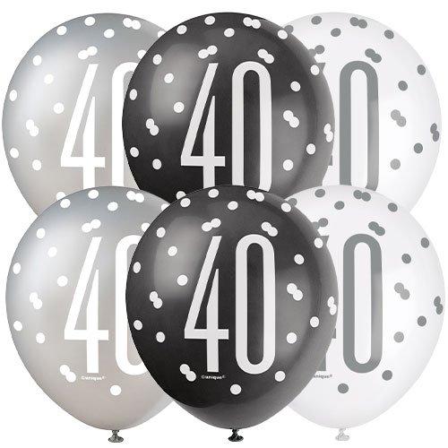 Black Glitz Age 40 Assorted Biodegradable Latex Balloons 30cm / 12 in - Pack of 6 Product Image