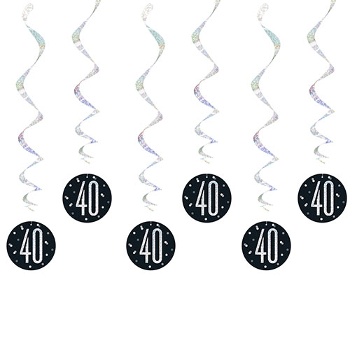 Black Glitz Age 40 Holographic Hanging Swirl Decorations - Pack of 6