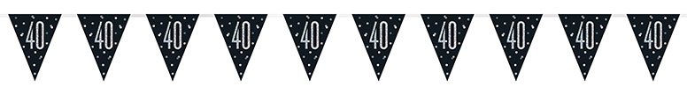 Black Glitz Age 40 Holographic Foil Pennant Bunting 274cm Product Image