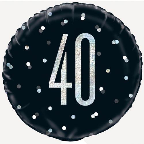 Black Glitz Age 40 Holographic Round Foil Helium Balloon 46cm / 18 in