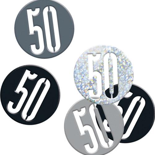 Black Glitz Age 50 Holographic Assorted Table Confetti 14 Grams
