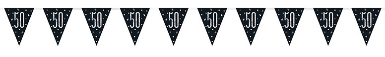 Black Glitz Age 50 Holographic Foil Pennant Bunting 274cm Product Image