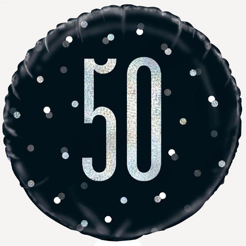 Black Glitz Age 50 Holographic Round Foil Helium Balloon 46cm / 18 in