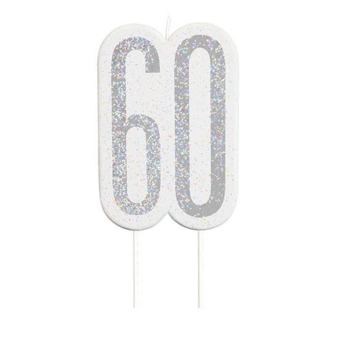 Black Glitz Silver Age 60 Birthday Candle 9cm