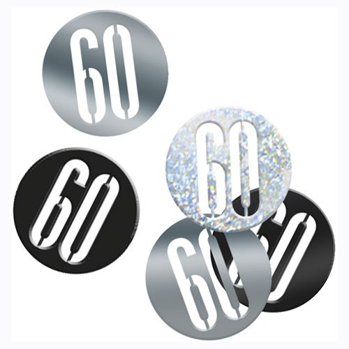 Black Glitz Age 60 Holographic Assorted Table Confetti 14 Grams