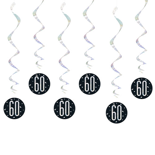 Black Glitz Age 60 Holographic Hanging Swirl Decorations - Pack of 6 Product Image