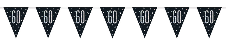 Black Glitz Age 60 Holographic Foil Pennant Bunting 274cm Product Image