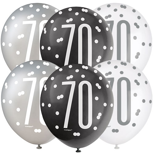 Black Glitz Age 70 Assorted Biodegradable Latex Balloons 30cm / 12 in - Pack of 6