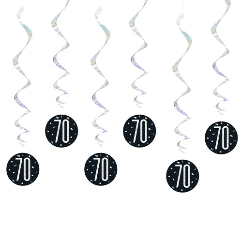 Black Glitz Age 70 Holographic Hanging Swirl Decorations - Pack of 6 Product Image