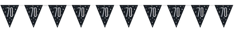 Black Glitz Age 70 Holographic Foil Pennant Bunting 274cm