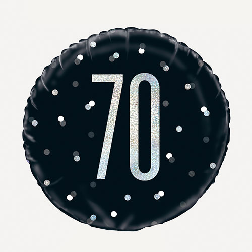 Black Glitz Age 70 Holographic Round Foil Helium Balloon 46cm / 18 in