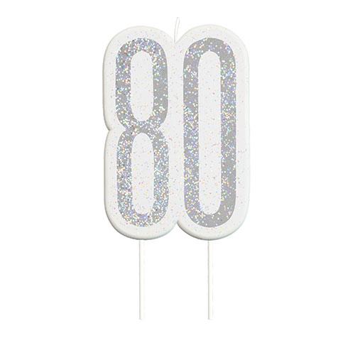 Black Glitz Silver Age 80 Birthday Candle 9cm