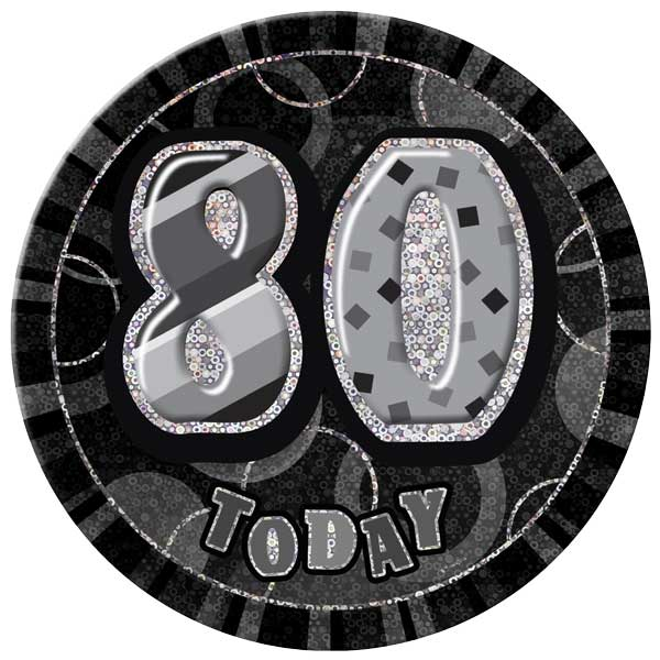 Black Glitz 80th Birthday Badge - 6 Inches / 15cm