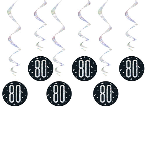 Black Glitz Age 80 Holographic Hanging Swirl Decorations - Pack of 6 Product Image