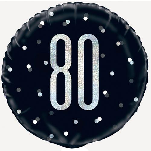 Black Glitz Age 80 Holographic Round Foil Helium Balloon 46cm / 18 in