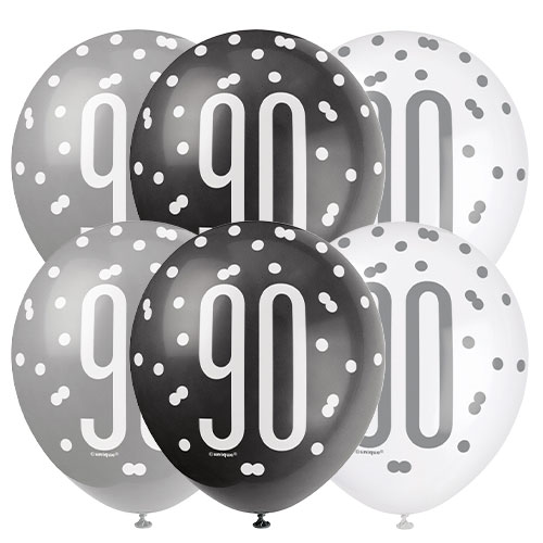 Black Glitz Age 90 Assorted Biodegradable Latex Balloons 30cm / 12 in - Pack of 6 Bundle Product Image