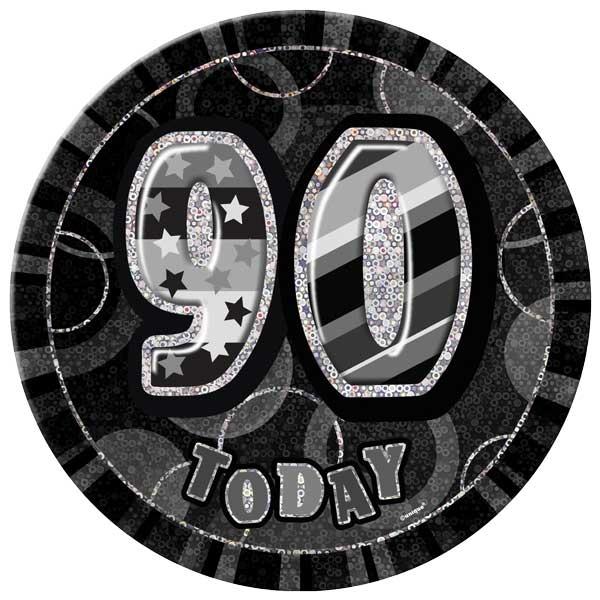 Black Glitz 90th Birthday Badge - 6 Inches / 15cm