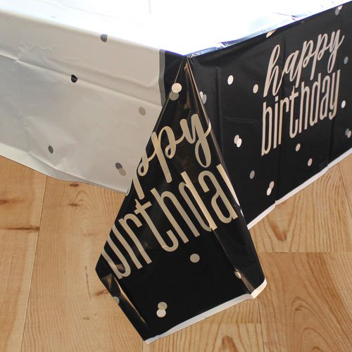 Black Glitz Birthday Plastic Tablecover 213cm x 137cm
