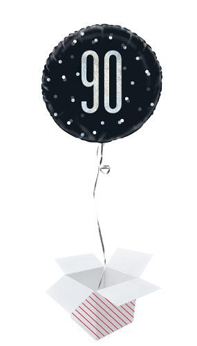 Black Glitz Glitz Age 90 Holographic Round Foil Helium Balloon - Inflated Balloon in a Box