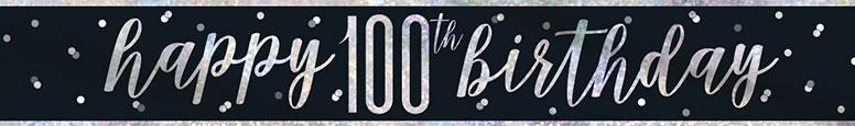 Black Glitz Happy 100th Birthday Holographic Foil Banner 274cm Product Image