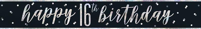 Black Glitz Happy 16th Birthday Holographic Foil Banner 274cm Product Image