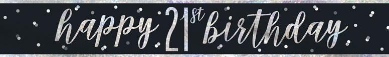 Black Glitz Happy 21st Birthday Holographic Foil Banner 274cm Product Image
