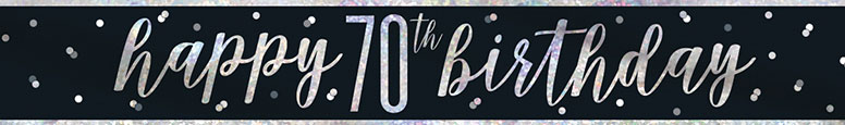 Black Glitz Happy 70th Birthday Holographic Foil Banner 274cm
