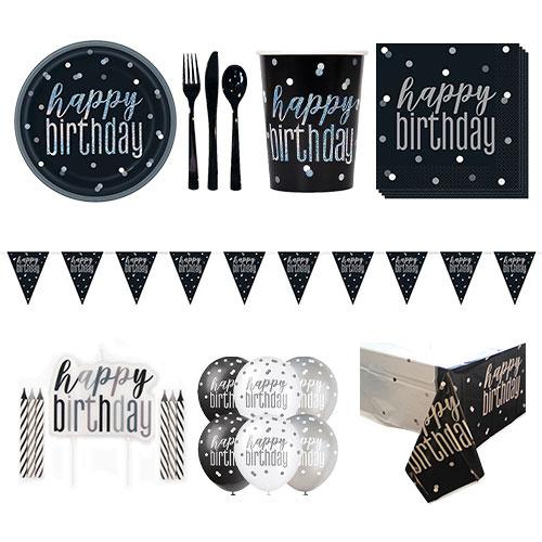Black Glitz Happy Birthday 8 Person Deluxe Party Pack