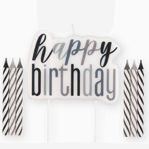 Black Glitz Happy Birthday Candle Set