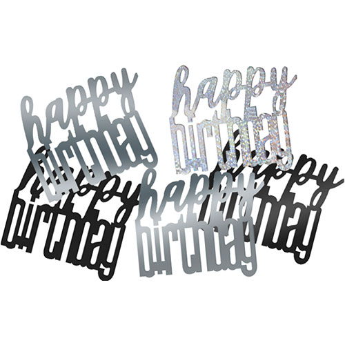 Black Glitz Happy Birthday Holographic Assorted Table Confetti 14 Grams