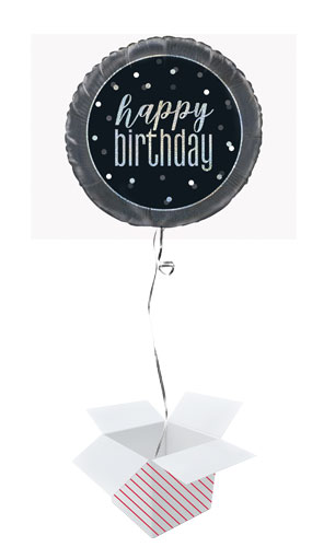 Black Glitz Happy Birthday Holographic Round Foil Helium Balloon - Inflated Balloon in a Box Product Image