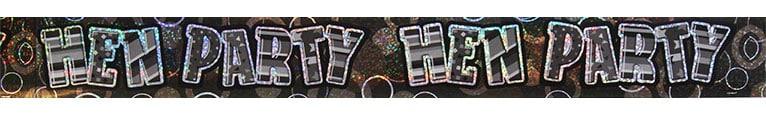 Black Glitz 'Hen Party' Prismatic Banner - 12 Ft / 366cm