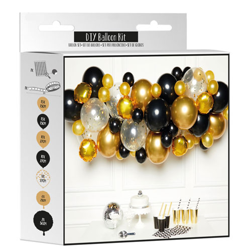Black & Gold DIY Garland Balloon Arch Kit Product Gallery Image
