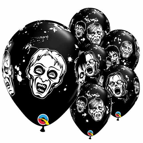 Black Halloween Zombie Latex Helium Qualatex Balloons 28cm / 11 in - Pack of 6 Product Image