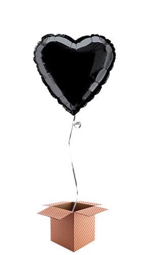 Black Heart Shape Foil Balloon - Inflated Balloon in a Box