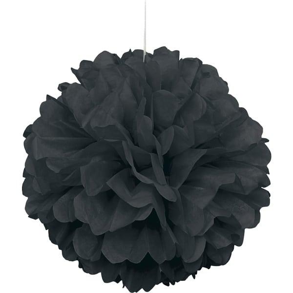 Black Honeycomb Hanging Decoration Puff Ball 40cm Product Image
