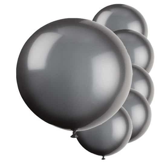 Black Jumbo Biodegradable Latex Balloons - 91cm - Pack of 6 Product Image