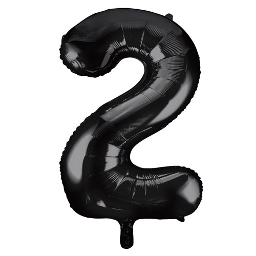 Black Number 2 Helium Foil Giant Balloon 86cm / 34 in Bundle Product Image