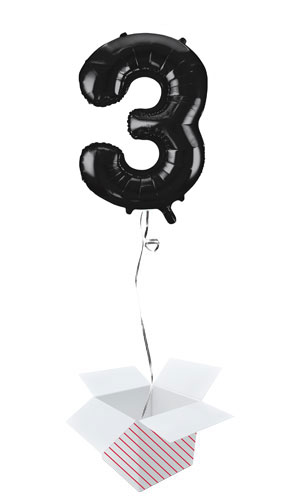 Black Number 3 Helium Foil Giant Balloon - Inflated Balloon in a Box