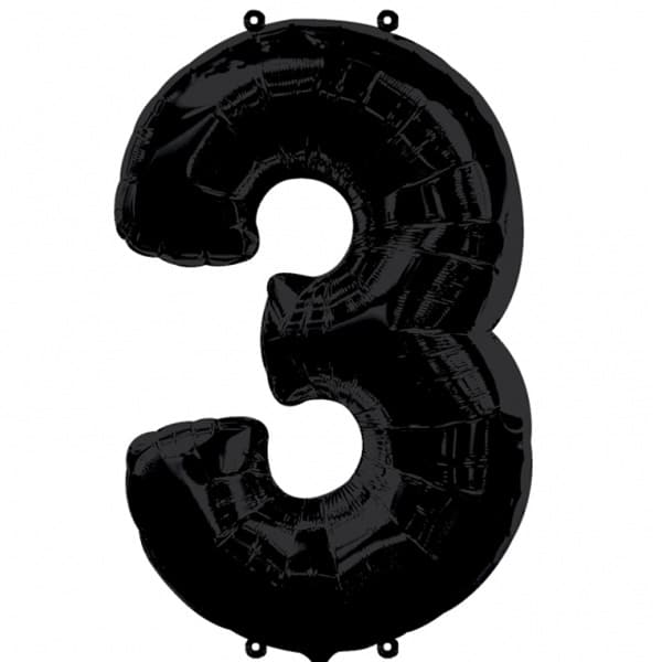 Black Number 3 Helium Foil Giant Balloon 76cm / 30 in Product Image
