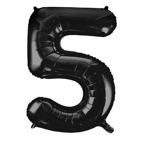 Black Number 5 Helium Foil Giant Balloon 86cm / 34 in Product Image